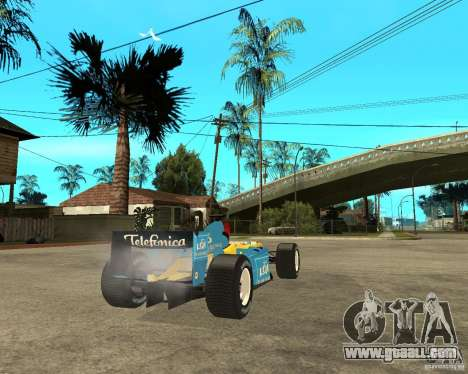 Renault F1 for GTA San Andreas back left view