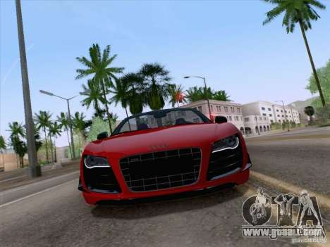 Audi R8 GT Spyder for GTA San Andreas back left view