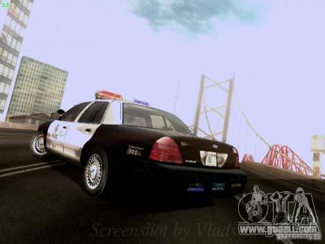 Ford Crown Victoria Los Angeles Police for GTA San Andreas back left view