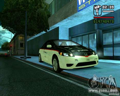 Honda Civic 2006 Coupe 1.1 for GTA San Andreas back left view