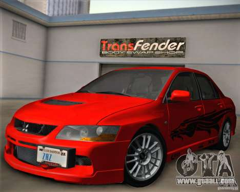 Mitsubishi Lancer Evolution IX Tunable for GTA San Andreas bottom view