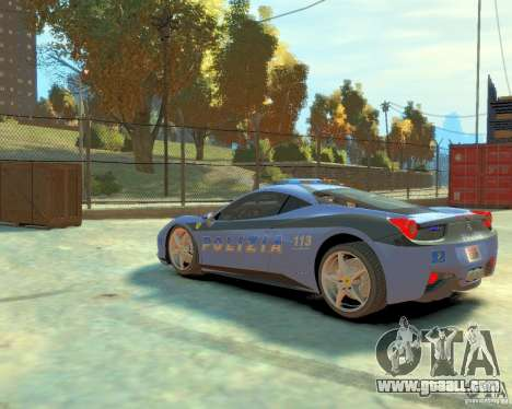 Ferrari 458 Italia Police for GTA 4 back left view