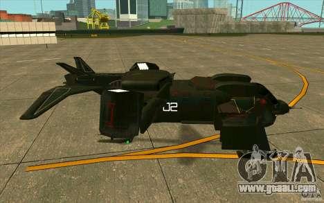Aliens vs. Predator Marine Drobship for GTA San Andreas back left view
