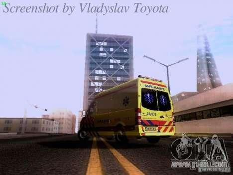 Mercedes-Benz Sprinter Ambulance for GTA San Andreas back left view