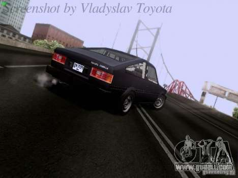 Toyota Corolla TE71 Coupe for GTA San Andreas back left view
