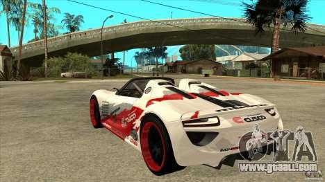 Porsche 918 Spyder Consept for GTA San Andreas back left view