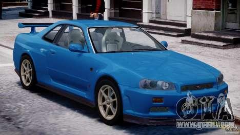 Nissan Skyline GT-R 34 V-Spec for GTA 4 upper view