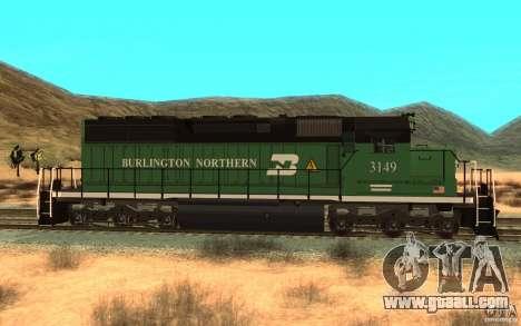 SD 40 Union Pacific Burlington Northern 3149 for GTA San Andreas left view