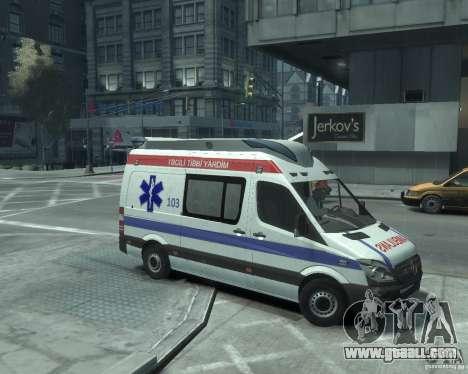 Mercedes-Benz Sprinter Azerbaijan Ambulance v0.1 for GTA 4 back left view