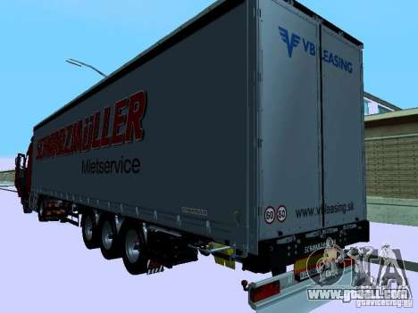 Trailer for Volvo FH13 for GTA San Andreas back left view