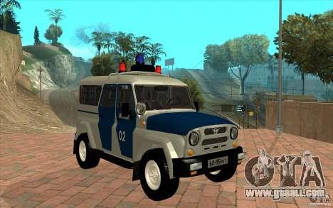 Bobik UAZ-3159 Police v. 2 for GTA San Andreas back view