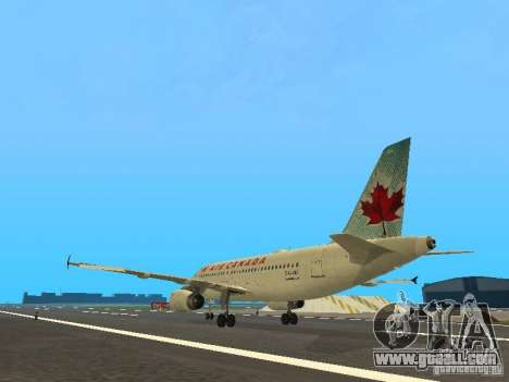 Airbus A319 Air Canada for GTA San Andreas back left view