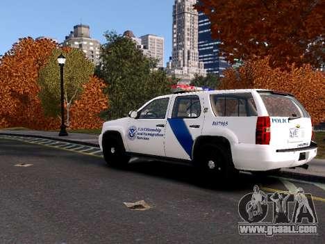 Chevrolet Tahoe Homeland Security for GTA 4 back left view