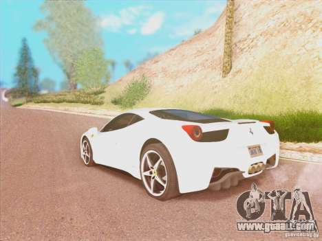 Ferrari 458 2010 for GTA San Andreas left view