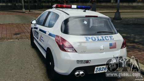 Peugeot 308 GTi 2011 Police v1.1 for GTA 4 back left view
