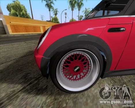 Mini Cooper S Euro for GTA San Andreas inner view