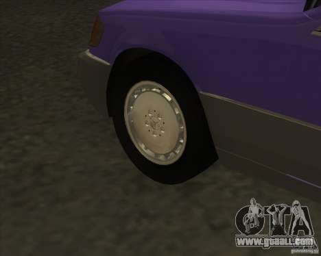 Mercedes Benz 400 SE W140 (Wheels style 3) for GTA San Andreas back view