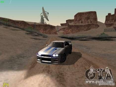 Nissan Skyline GT-R R34 V-Spec for GTA San Andreas upper view