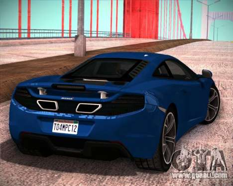 McLaren MP4-12C 2012 for GTA San Andreas left view