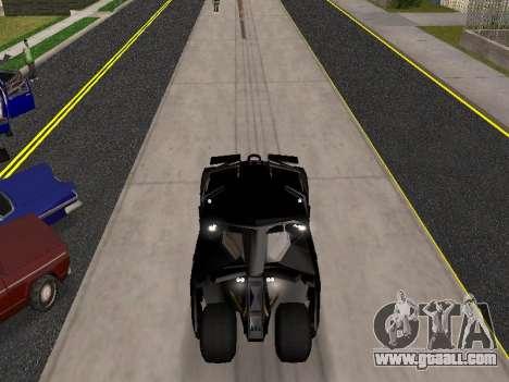 Tumbler Batmobile 2.0 for GTA San Andreas back view