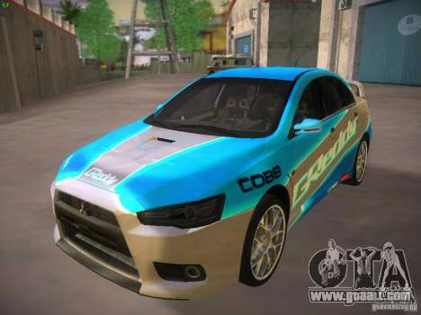 Mitsubishi Lancer Evo X Tunable for GTA San Andreas upper view