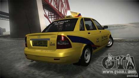 LADA 2170 Priora Taxi TMK Afterburner for GTA San Andreas back left view
