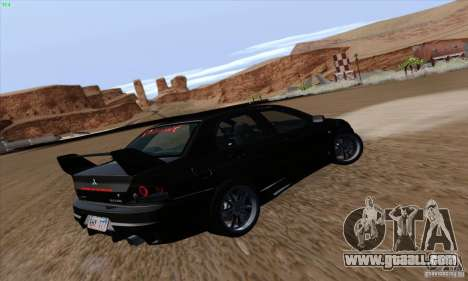 Mitsubishi Lancer EVO VIII BlackDevil for GTA San Andreas back view
