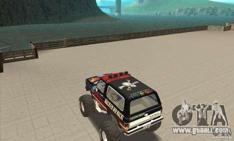 Chevrolet Blazer K5 Monster Skin 5 for GTA San Andreas back left view
