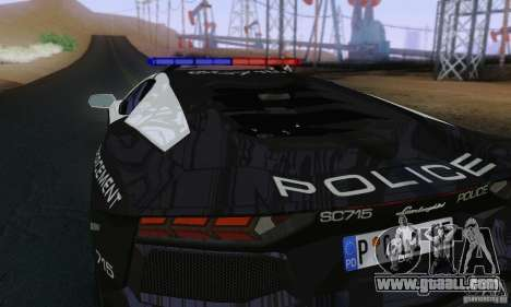 Lamborghini Aventador LP700-4 Police for GTA San Andreas back view