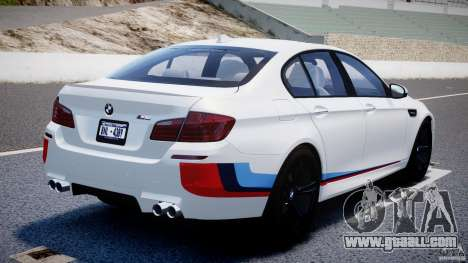 BMW M5 F10 2012 M Stripes for GTA 4 back left view
