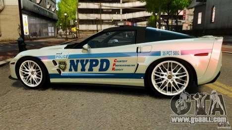 Chevrolet Corvette ZR1 Police for GTA 4 left view