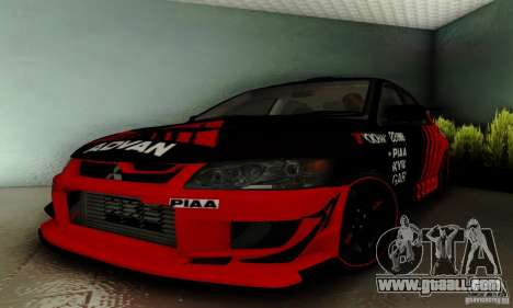 Mitsubishi Lancer Evolution 8 Tuneable for GTA San Andreas inner view