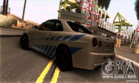 Nissan Skyline R34 GT-R Tunable for GTA San Andreas right view