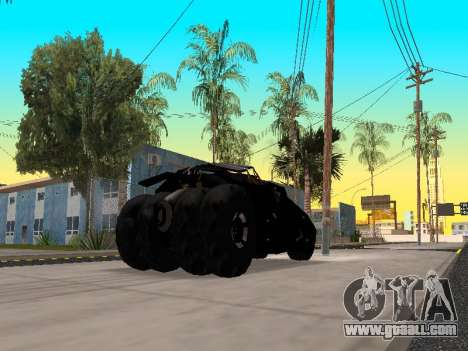 Tumbler Batmobile 2.0 for GTA San Andreas back left view