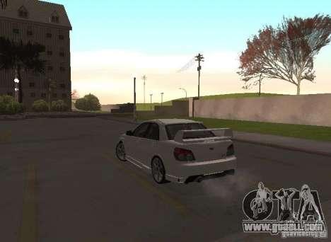 Subaru Impreza WRX STI-Street Racing for GTA San Andreas bottom view