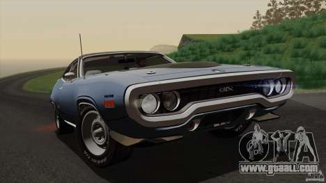 Plymouth GTX 426 HEMI 1971 for GTA San Andreas upper view