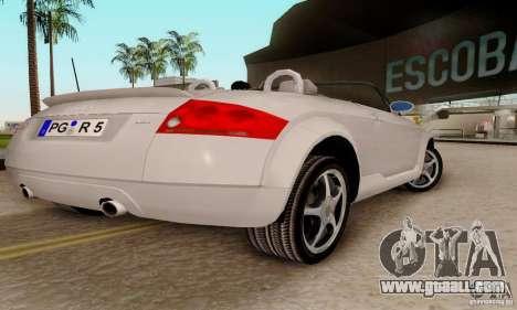 Audi TT Roadster for GTA San Andreas back left view