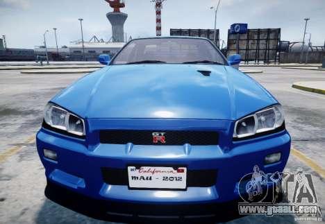 Nissan Skyline GT-R R34 Mspec for GTA 4 inner view