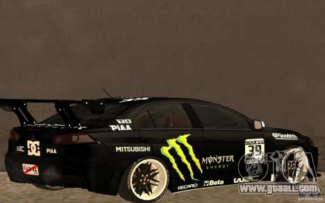 Mitsubishi Lancer Evolution X Monster Energy for GTA San Andreas back left view