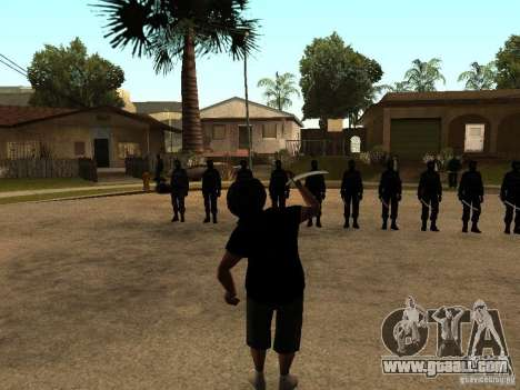 The fight with the katanas on Grove Street for GTA San Andreas