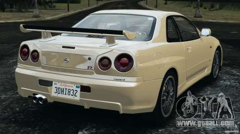 Nissan Skyline GT-R R34 2002 v1.0 for GTA 4 back left view