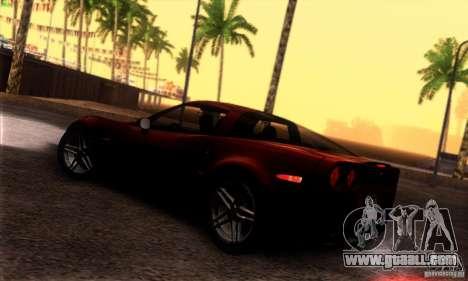 Chevrolet Corvette Z06 for GTA San Andreas back view