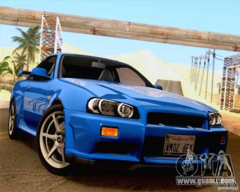 Nissan Skyline R34 for GTA San Andreas