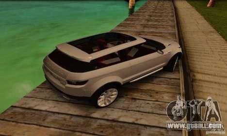 Land Rover Range Rover Evoque for GTA San Andreas back view