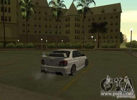 Subaru Impreza WRX STI-Street Racing for GTA San Andreas upper view