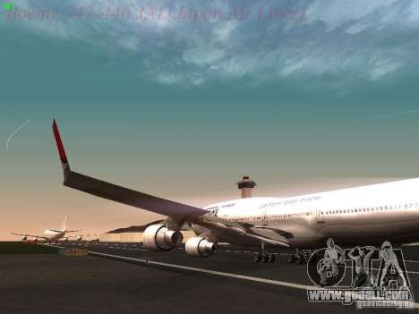 Boeing 747-446 Japan-Airlines for GTA San Andreas inner view