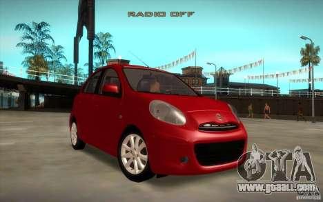 Nissan Micra 2011 for GTA San Andreas