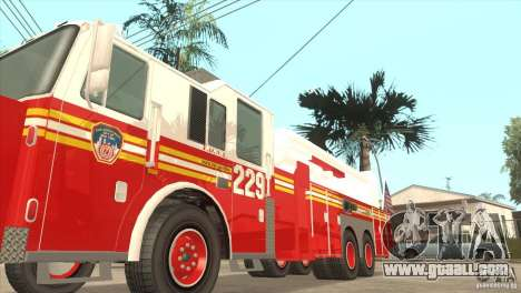 FDNY Seagrave Marauder II Tower Ladder for GTA San Andreas back left view