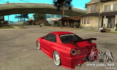Nissan Skyline GTR-34 Carbon Tune for GTA San Andreas back left view