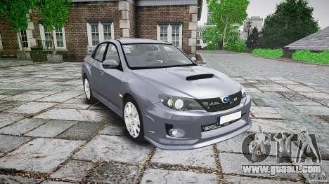 Subaru Impreza WRX 2011 for GTA 4 back view